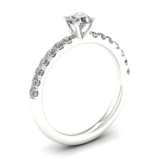 De Couer 14k White Gold 3/4ct TDW Diamond Classic Engagement Ring