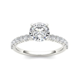 De Couer 14k White Gold 1ct TDW Round-cut White Diamond Engagement Ring (H-I, I2)