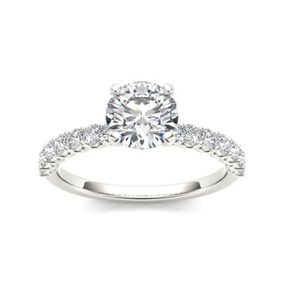 De Couer 14k White Gold 1ct TDW Round-cut White Diamond Engagement Ring