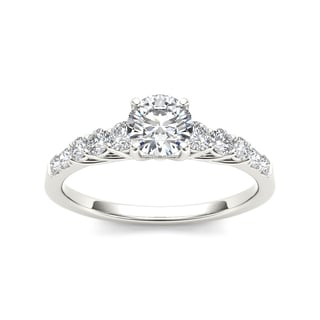 De Couer 14k White Gold 1ct TDW Round-cut Solitaire White Diamond Engagement Ring