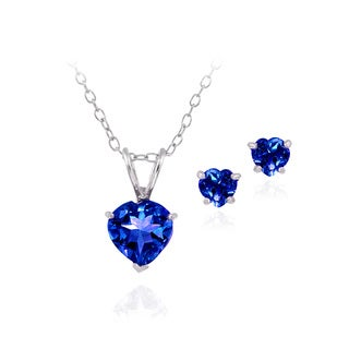 Glitzy Rocks Sterling Silver Created Sapphire Heart Solitaire Pendant and Stud Earrings Set