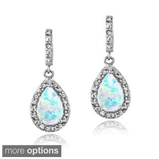 Glitzy Rocks Sterling Silver Created Opal and Gemstone Teardrop Dangle Earrings