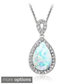 Glitzy Rocks Sterling Silver Created Opal and Gemstone Teardrop Necklace
