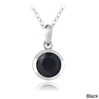 Crystal Ice Sterling Silver Crystal Solitaire Necklace (5 options available)