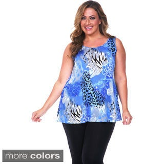 White Mark Women's Plus Size Animal Print Tank Top