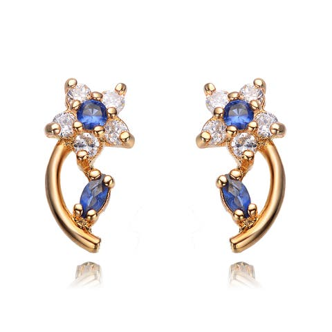 Collette Z Gold-plated Blue and White Sterling Silver Cubic Zirconia Flower Earrings