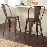 Carbon Loft Tabouret Vintage Steel Bistro Counter Stools (Set of 2)