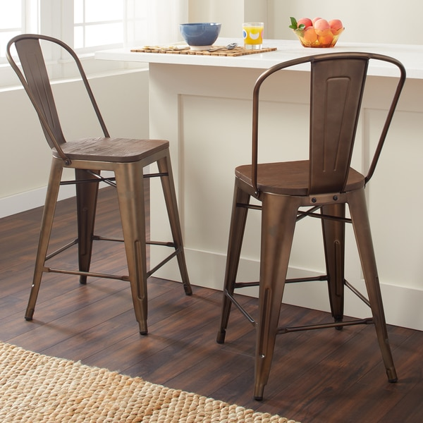 Counter Stools Overstock: Shop Vintage Steel Bistro Counter Stools (Set Of 2