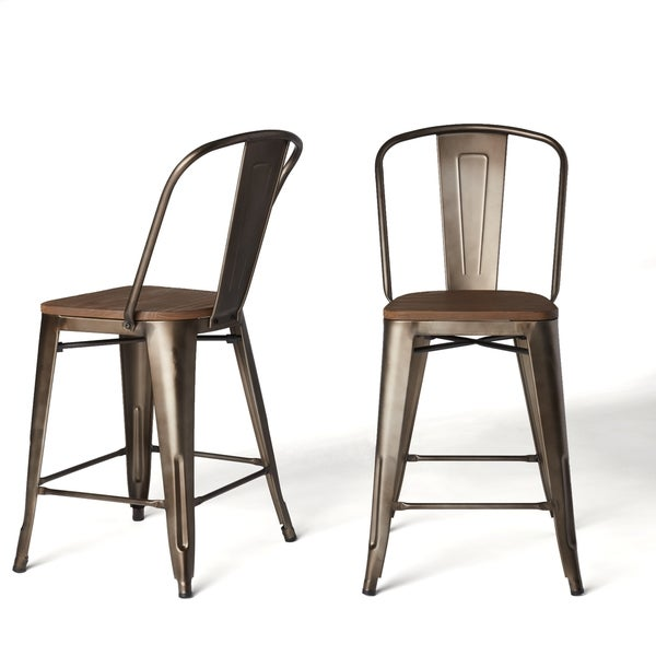 tabouret vintage steel bistro counter stools set of 2 free shipping today. Black Bedroom Furniture Sets. Home Design Ideas