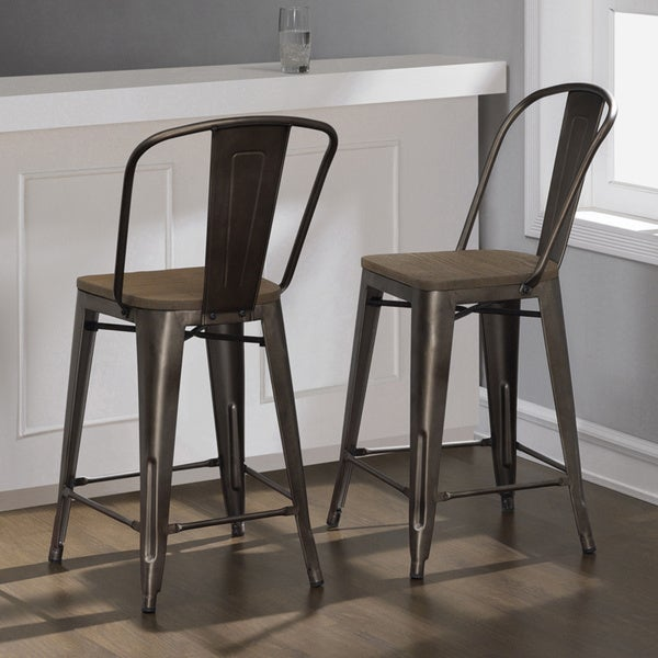 Tabouret vintage steel bistro counter stools set of 2 free shipping today - Tabouret bar vintage ...