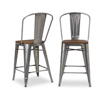 Carbon Loft Tabouret Bistro Wood Seat Gunmetal Finish Counter Stools (Set of 2)