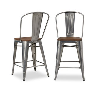 Carbon Loft Bistro Wood Seat Gunmetal Finish Counter Stools (Set of 2)