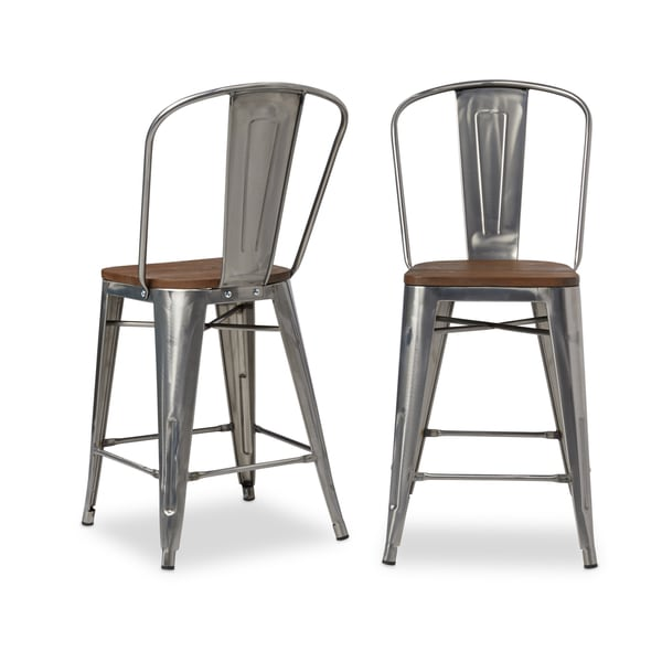 Counter Stools Overstock: Shop Bistro Wood Seat Gunmetal Finish Counter Stools (Set