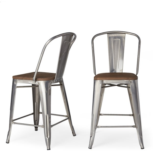 Tabouret Bistro Wood Seat Gunmetal Finish Counter Stools (Set of 2)