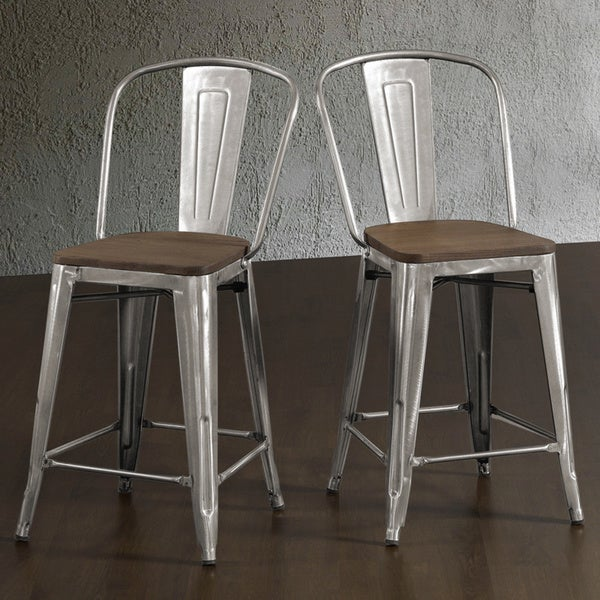 Tabouret Bistro Wood Seat Gunmetal Finish Counter Stools