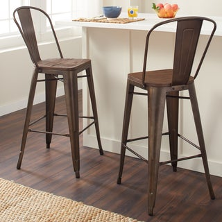 Tabouret Bistro Wood Seat Vintage Finish Bar Stools (Set of 2)