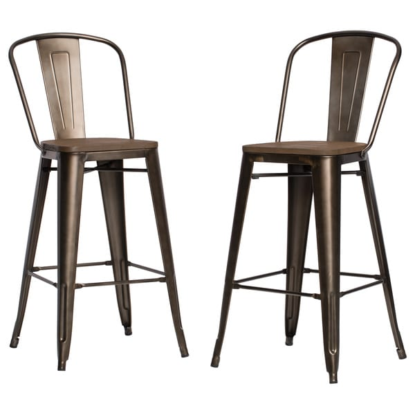 Tabouret Bistro Wood Seat Vintage Finish Bar Stools Set