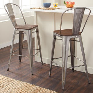 Tabouret Bistro Wood Seat Gunmetal Finish Bar Stools (Set of 2)