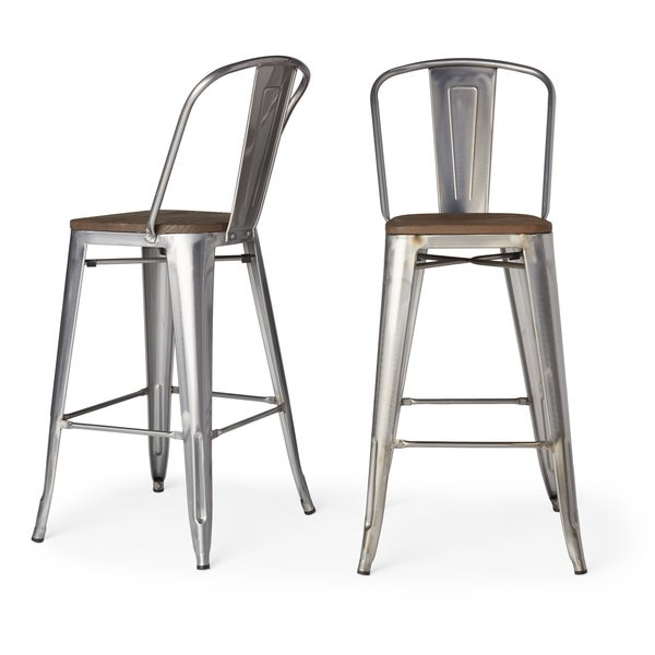 Tabouret Bistro Wood Seat Gunmetal Finish Bar Stools (Set of 2)  sc 1 st  Overstock.com & Tabouret Bistro Wood Seat Gunmetal Finish Bar Stools (Set of 2 ... islam-shia.org