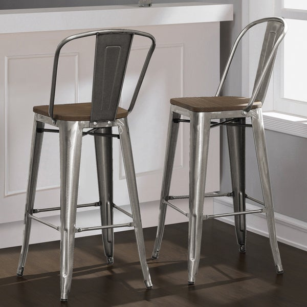 Tabouret Bistro Wood Seat Gunmetal Finish Bar Stools Set