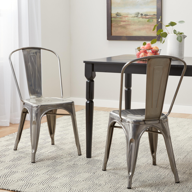 Bistro Gunmetal Dining Chairs Set Of 2
