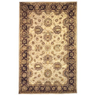 Linon Rosedown Pale Goldtone/ Chocolate Area Rug (8' x 10')