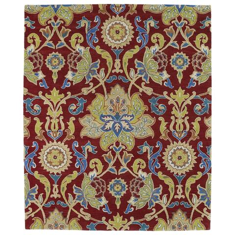 """Hand-tufted Hand-tufted Anabelle Red Floral Wool Rug (7'6 x 9') - 7'6"""" x 9'"""