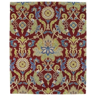 Hand-tufted Hand-tufted Anabelle Red Floral Wool Rug (7'6 x 9')
