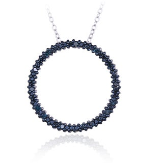 DB Designs Sterling Silver 1/8ct TDW Blue Diamond Circle Necklace
