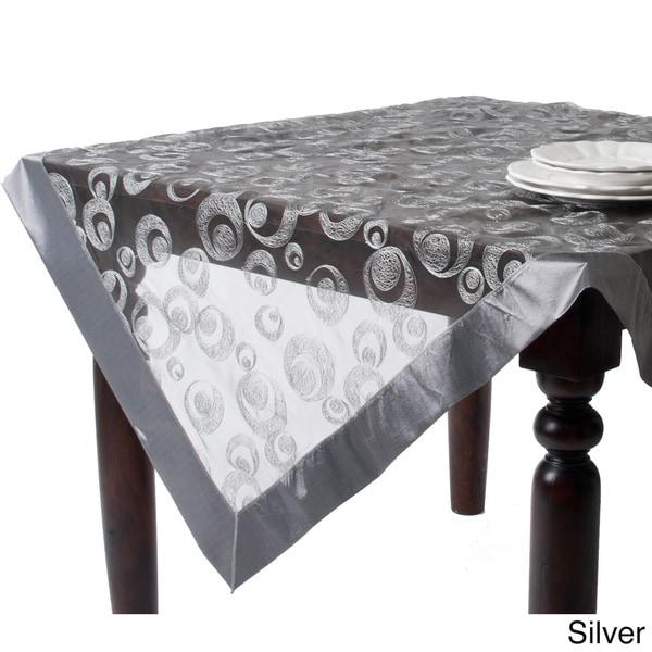 Embroidered Geometric Square Design Sheer Tablecloth Topper Vanilla