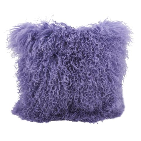Wool Mongolian Lamb Fur Decorative Throw Pillow
