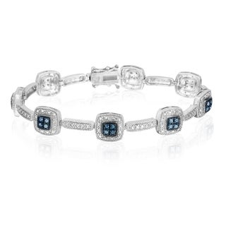DB Designs Sterling Silver 1/3ct TDW Blue Diamond Link Bracelet (I2-I3)