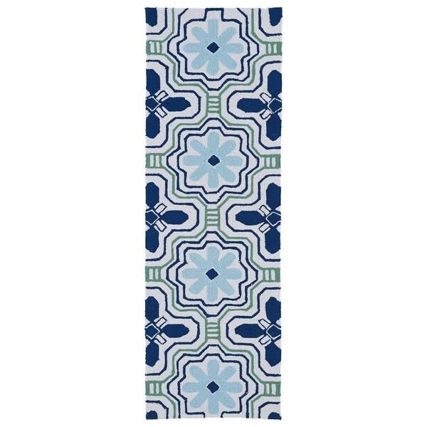 Luau Ivory Tile Indoor/ Outdoor Rug (2' x 6') - 2' x 6'