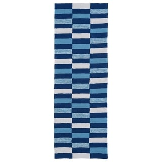 Luau Blue Stripes Indoor/ Outdoor Rug (2' x 6')