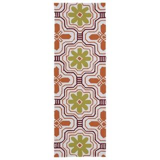 Luau Orange Tile Indoor/ Outdoor Rug (2' x 6') - 2' x 6'