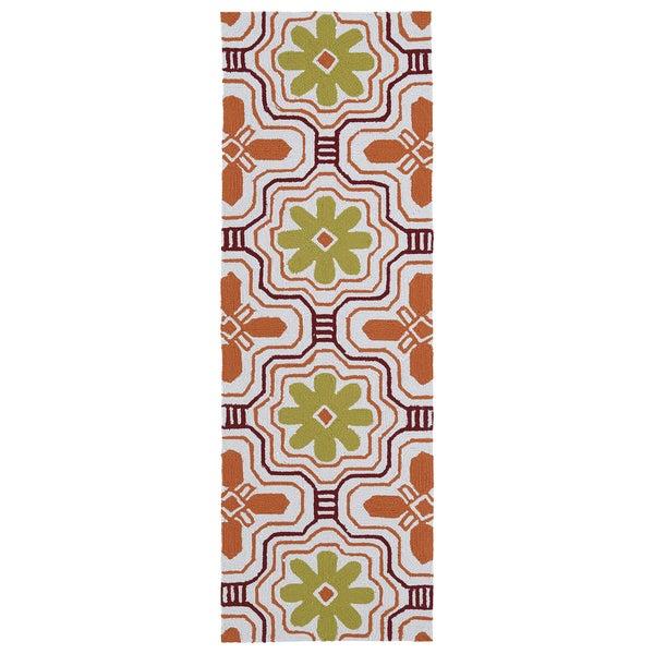 Luau Orange Tile Indoor Outdoor Rug 2 X 6 Free
