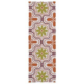 Luau Orange Tile Indoor/ Outdoor Rug (2' x 6')