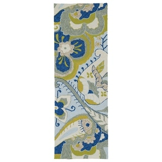 Fiesta Spring Blue Indoor/ Outdoor Rug (2' x 6')