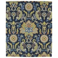 Hand-tufted Anabelle Navy Blue Floral Wool Rug - 5' x 7'9