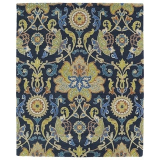"""Hand-tufted Anabelle Navy Blue Floral Wool Rug (7'6 x 9') - 7'6"""" x 9'"""