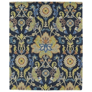 Hand-tufted Anabelle Navy Blue Floral Wool Rug (7'6 x 9')