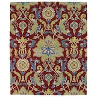 Hand-tufted Anabelle Red Floral Wool Rug - 5' x 7'9