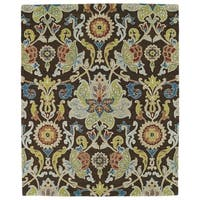 Hand-tufted Anabelle Chocolate Floral Wool Rug - 5' x 7'9