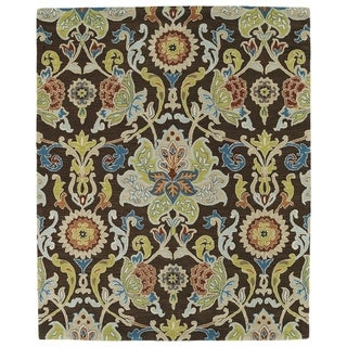 "Hand-tufted Anabelle Chocolate Floral Wool Rug (7'6 x 9') - 7'6"" x 9'"