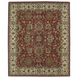 Hand-tufted Anabelle Red Agra Wool Rug (7'6 x 9')