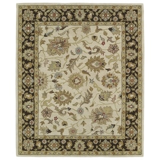 Hand-tufted Anabelle Beige Kashan Wool Rug (5' x 7'9)