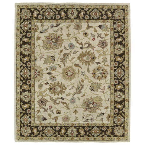 "Hand-tufted Anabelle Beige Kashan Wool Rug - 7'6"" x 9'"