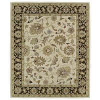 Hand-tufted Anabelle Beige Kashan Wool Rug - 7'6 x 9'