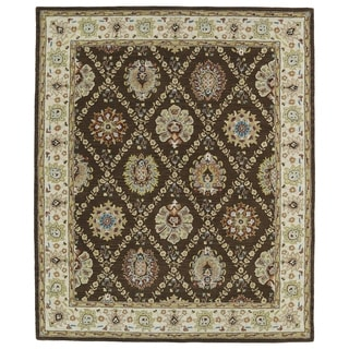 Hand-tufted Anabelle Chocolate Trellis Wool Rug (7'6 x 9')