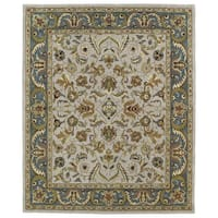 Hand-tufted Anabelle Taupe Kashan Wool Rug (7'6 x 9')